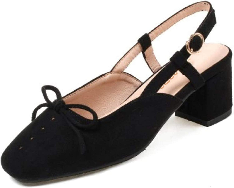 Retro Women High Heel shoes Bowknot Ankle Strap Slingbacks Thick Heel Sandals Summer,Black,9