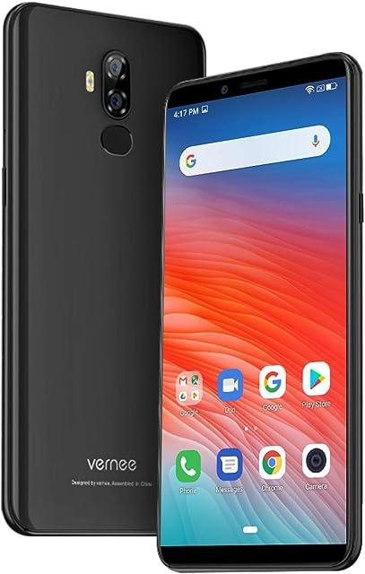 Vernee X2(2019) Móvil Libre Gran Batería 6350mAh 3GB RAM 32GB ROM 6 FHD+ Smartphone Android 9.0 Face ID Sensor Dactilar Cámara Dual Trasera 13MP+5MP Frontal 5MP Quad Core Carga Rápida - Negro