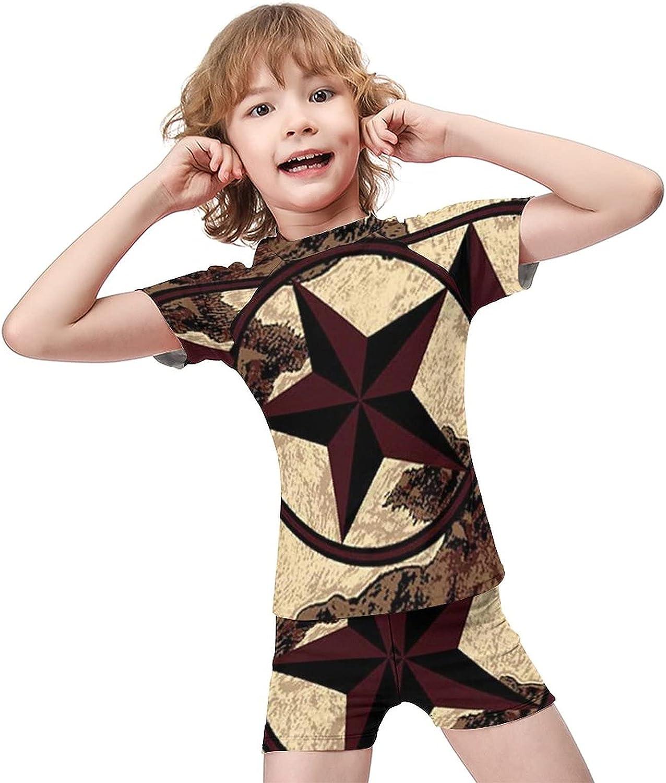 Yiaoflying Kids Boys 2 Piece Swimwear Set - Texas Western StarRash Guard Swimsuit Trunks