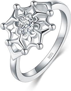 BORUO 925 纯银戒指,方晶锆石 CZ 彩虹色花彩虹高抛光舒适贴合婚戒