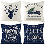 UBING Christmas Pillow Covers 18x 18 Winter Blue Decorative Pillow Cases Buffalo Check Plaid Farmhouse Rustic Throw Pillow Covers for Sofa Bed Bench Christmas Decoration Set of 4