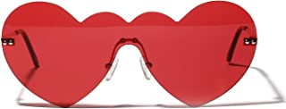 Sunglasses Fashion Accessories Conjoined Big Box Heart Shaped Sunglasses UV Protection Party Fashion Accessories (Color : Red)