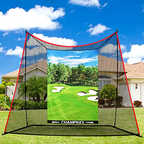 Champkey Professional 10' x 8' Golf Hitting Net | Driving Range Golf Practice Nets Ideal for Indoor and Outdoor Training