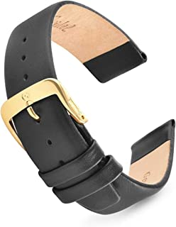 Speidel Genuine Leather Watch Band Black and Brown Men's Classic Calf Skin Replacement Strap,12mm, Through 20mm Stainless Steel Metal Buckle, Watchband