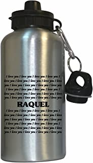 I Love You Raquel Water Bottle Silver