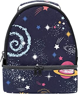 Mydaily Kids Lunch Box Space Galaxy Doodle Reusable Insulated School Lunch Tote Bag