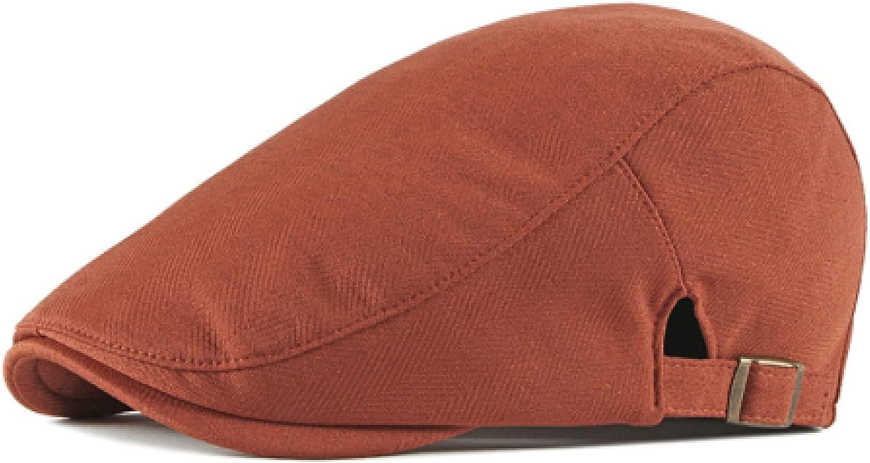 Spring and Autumn Men's Classic Retro Beret Solid Color Artist Hat Adjustable Newsboy Hat Flat Top Taxi Driver Hat