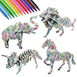 3D Coloring Puzzle Set - 4 Animals 3D Puzzle with 12 Pen Markers Art Lion, Dinosaur, Horse, Elephant Coloring Painting 3D Puzzles for Kids Ages 7 8 9 10 11 12 Fun Creative DIY Art Craft Toys