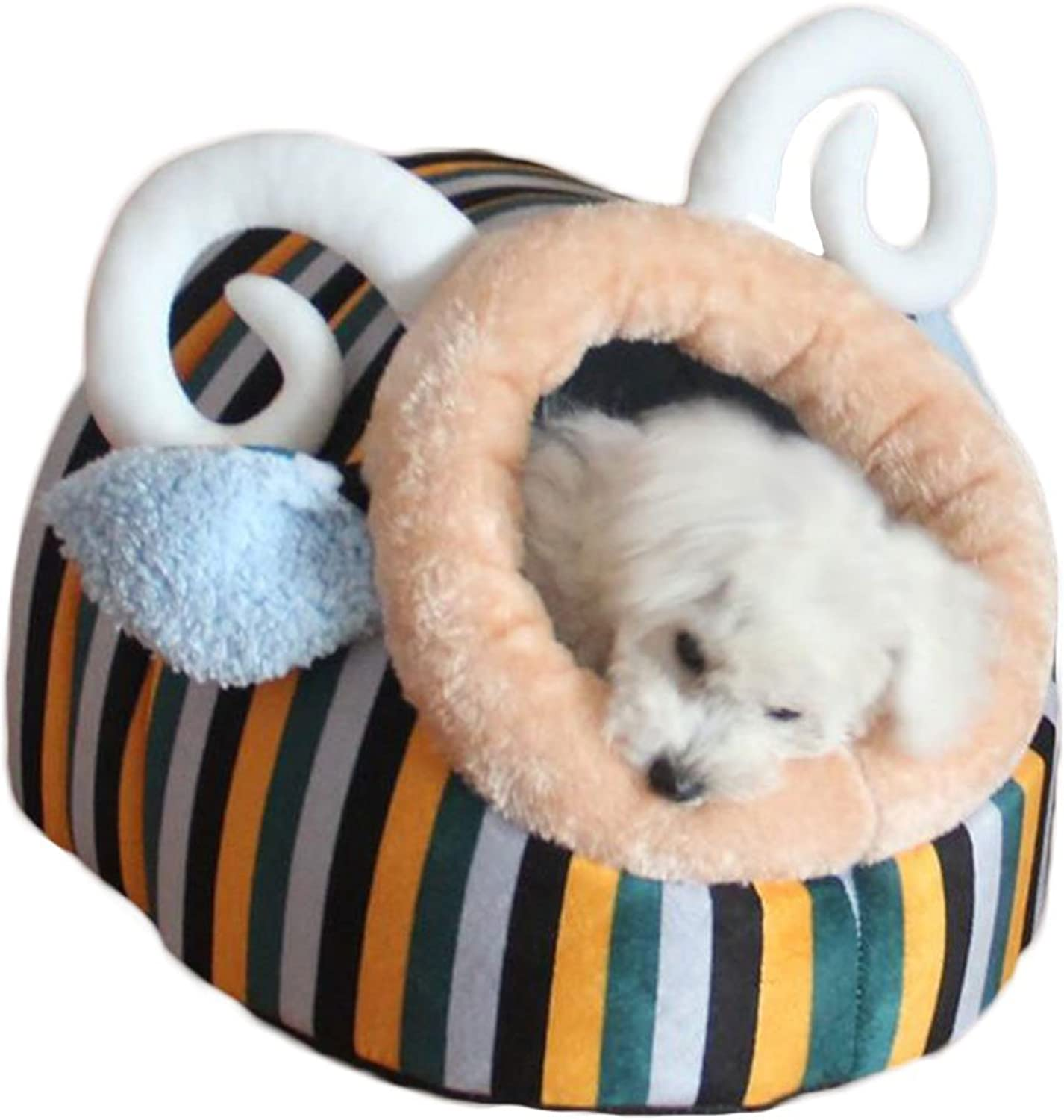 EEvER Comfortable Washable Pet Bed Dog Cat Pet House Bed  Indoor Doghouse Bed Cute Soft Puppy Rabbits Cave Mat Cushion for Small Animal Hut  Sponge (M,bluee Sheep)
