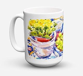 Caroline's Treasures 6037CM15 Apples Plums And Grapes With Flowers Microwavable Ceramic Coffee Mug, 15 oz, Multicolor