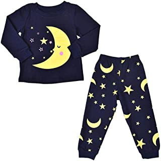 Autumn Winter Outfits Toddler Kids Baby Moon Star Print Pajamas Set Long Sleeve T-shirts Tops Pants Home Sleepwear 2-5T