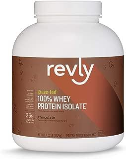 Amazon Brand - Revly 100% Grass-Fed Whey Protein Isolate Powder, Chocolate, 4.02 Pound Value Size (57 Servings), Gluten Free, Non-GMO