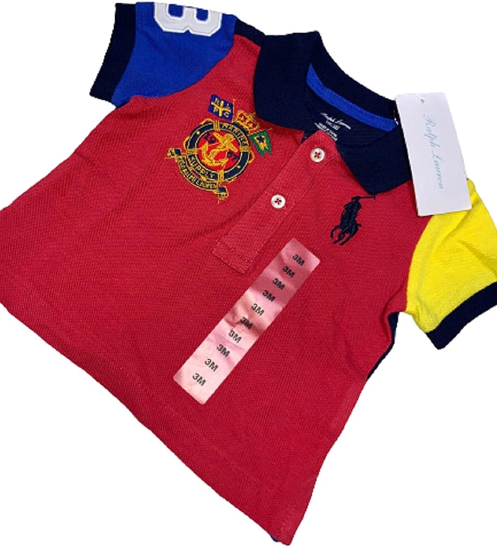 Polo Ralph Lauren RED Boys Short Sleeve Stripe Polo Shirt, US 7