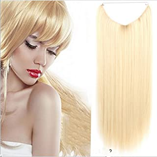 """Remeehi 22"""" Silk Straight Hidden Halo Wire Hairpiece Synthetic Halo Hair Extensions 80G 28Cm Width 24#"""