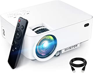 "Mini Projector, Hompow High Brightness Movie Projector, Smartphone Portable Video Projector 1080P Supported and 176"" Displ..."