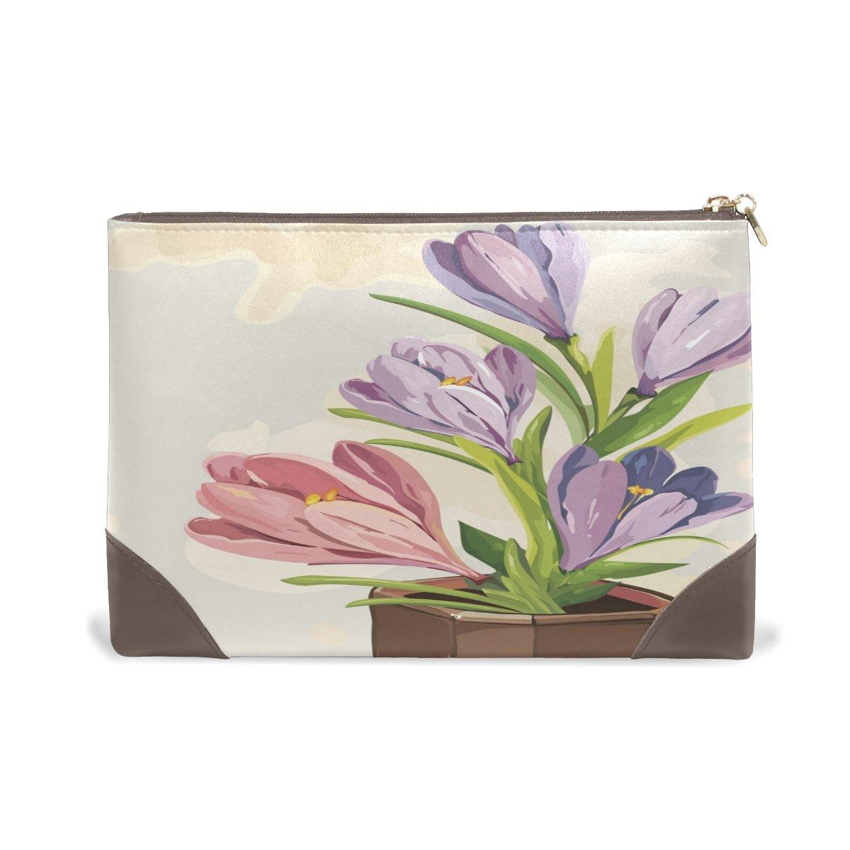 Genuine Leather Makeup Bag Flower With Comestic Case Ladies Max 84% OFF Sale Zipp