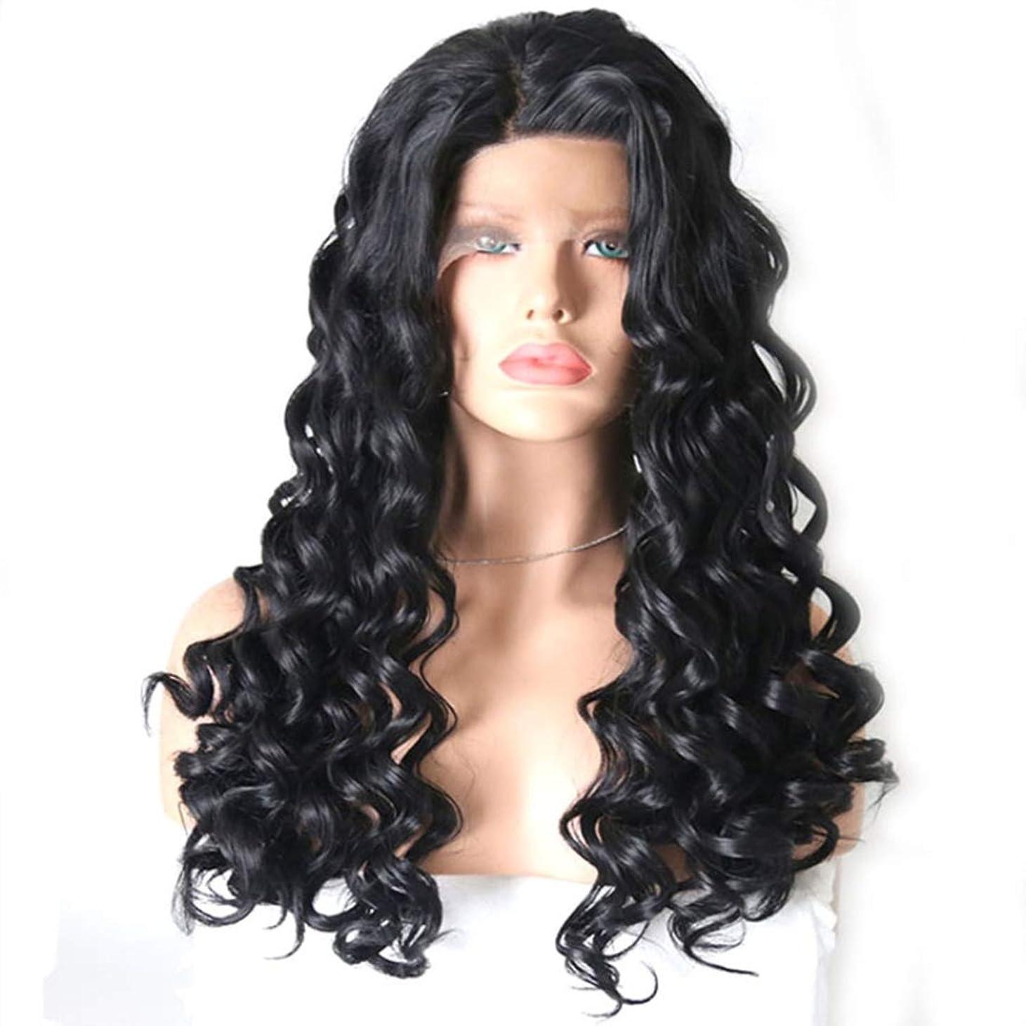 キャプションガウンフィクションSummerys 黒い巻き毛のかつらフロントレースを持つ女性のための長い巻き毛 (Color : Black, Size : 20 inches)