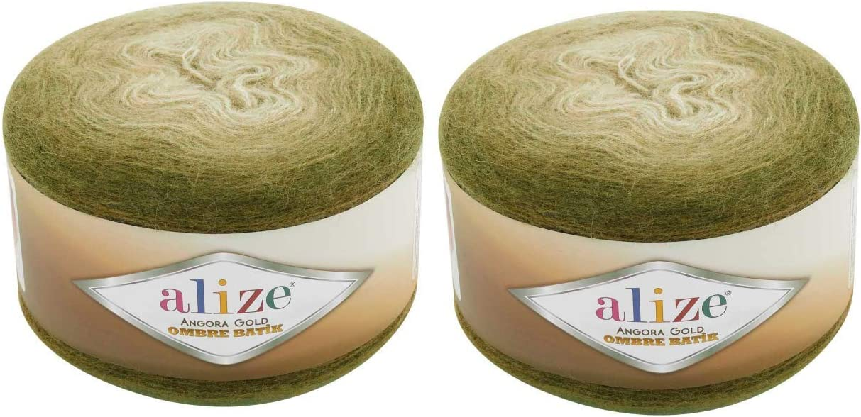 20% Wool 80% Acrylic Soft OFFicial store Yarn Ombre Alize High quality 2sk Batik Gold Angora