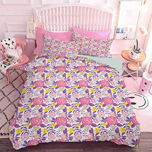 Hiiiman Juego de ropa de cama de 3 piezas patrón con diferentes flores florecientes tema de belleza de la naturaleza (3 piezas, tamaño queen) sin inserto