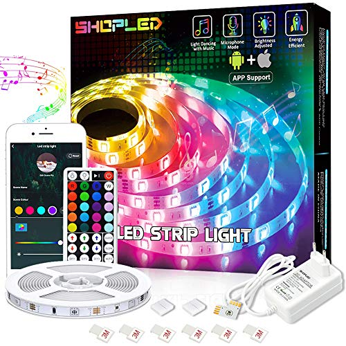 SHOPLED WIFi LED Streifen, RGB 5050 5m LED Lichtband, Flexible LED Band Lichterkette Sync mit Musik durch Smart App und Fernbedienung, Geeignet für Zuhause, Schlafzimmer, Party, Urlaubs Dekoration