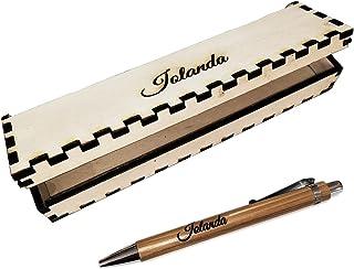 Penna e scatola personalizzabile con nome inciso in legno, il vostro testo personalizzato ideale per eventi, laurea, compl...