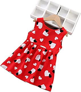 Baby Pink & Red beautiful Girl Kids Dress Colorful cartoon printed cute for summer frills dress very comfortable easy wear...