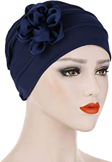 Chemo Turban Flower Beanie Head Wrap Soild Color Scarf Cap Hair Loss Hat
