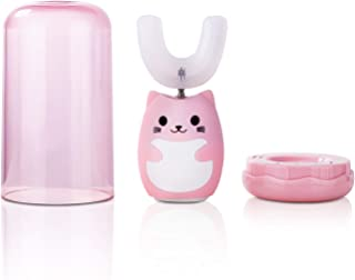Ultrasonic Kids Electric Toothbrush with Three Gear Speed, U Type Toothbrush,Auto-toothbrush Specially Designed for Kids Mottake (Pink-Child)