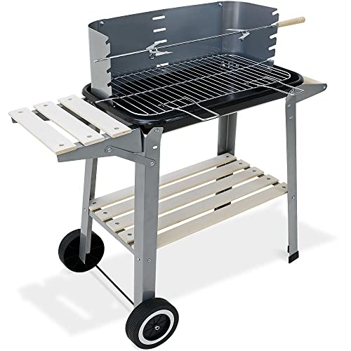Deuba Barbecue Mobile 55x35cm - BBQ avec Roues Grill Plan de Travail - Jardin Camping