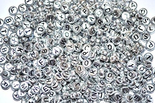 Argent rond plat Lot de 100 perles en acrylique rondes et plates (lettres mixtes ou simples) 7 mm, Acrylique, mixte, 7 mm