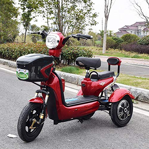 Adulto Scooter móvil eléctrico de Tres Ruedas Scooter Verde Bicicleta ecológica 48V20A,Red