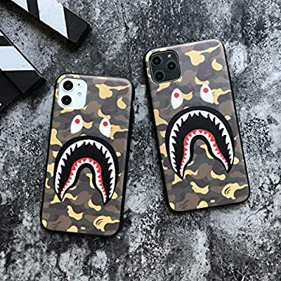 Shark Teeth Camo Print Hardshell Silicone Case for iPhone 11 iPhone 11 Pro iPhone 11 Pro Max with Matte Finish Bape Hypebeast Supreme Slim Protect Fashion Stylish
