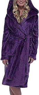 Bathrobe Bath towel رداء حمام منشفة Women's Fleece Robe Plush Soft Warm Long Sleepwear Hooded Bathrobe,Size:S,Colour:Grey (Color : Purple, Size : US XLarge)