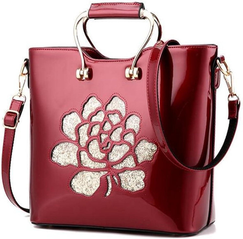 Women Handbag,Vintage Floral Embroidery Sequined Top Handle Shoulder Bag Tote Bag