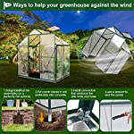 JULY'S SONG Greenhouse,Polycarbonate Walk-in Plant Greenhouse with Window for Winter,Garden Green House Kit for Backyard… 15 【EXTEND THE GROWING SEASON】Perfect for a first-time or seasoned home gardener, JULY'S SONG walk-in greenhouses protect plant against rough weather. You can make sure that your plants are healthy and happy all year round. 【STURDY & DURABLE】This DIY Greenhouse Kit is made of 4mm twinwall UV/wind resistant polycarbonate panels and thickened premium aluminum frame,all this together with heavy-duty galvanized base help provide solid support for your entire plant nursery. 【MULTI-FUNCTION DESIGN】The greenhouse for outdoor has sliding doors for easy access, roof vent for effortless ventilation, and rain gutters for effective drainage of water and snow.