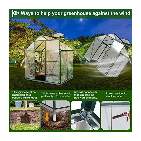 JULY'S SONG Greenhouse,Polycarbonate Walk-in Plant Greenhouse with Window for Winter,Garden Green House Kit for Backyard… 7 【EXTEND THE GROWING SEASON】Perfect for a first-time or seasoned home gardener, JULY'S SONG walk-in greenhouses protect plant against rough weather. You can make sure that your plants are healthy and happy all year round. 【STURDY & DURABLE】This DIY Greenhouse Kit is made of 4mm twinwall UV/wind resistant polycarbonate panels and thickened premium aluminum frame,all this together with heavy-duty galvanized base help provide solid support for your entire plant nursery. 【MULTI-FUNCTION DESIGN】The greenhouse for outdoor has sliding doors for easy access, roof vent for effortless ventilation, and rain gutters for effective drainage of water and snow.