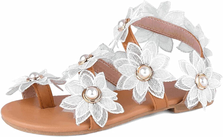 Women's Stylish Flat Sandals New mail order Flower Cross Strap Pearls Las Vegas Mall San Dress