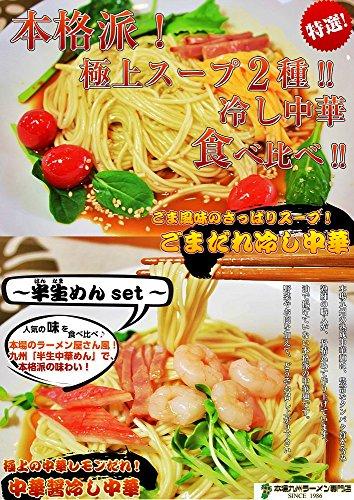 本格派 冷し中華2種セット ごまだれ&中華醤だれ (九州半生めん:4人前+熟成乾燥麺1食おまけ付き )