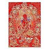 Tibétatan Thangka Bouddhiste Bouddha Thagka Toile Toile Panneau d'affiche Inde Chinese Zen Accueil Décoration Mur Art Picture Pour Salon Pas de cadre ( Color : A , Size (Inch) : A4 21x30cm No Frame )