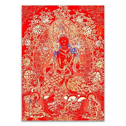 Tibetanische Thangka. Buddhistische Buddha Thangka Leinwand Druck Malerei Poster Indien Chinese Zen Dekoration Wandkunst Bild Für Wohnzimmer Kein Rahmen (Color : A, Size (Inch) : 50x70cm No Frame)