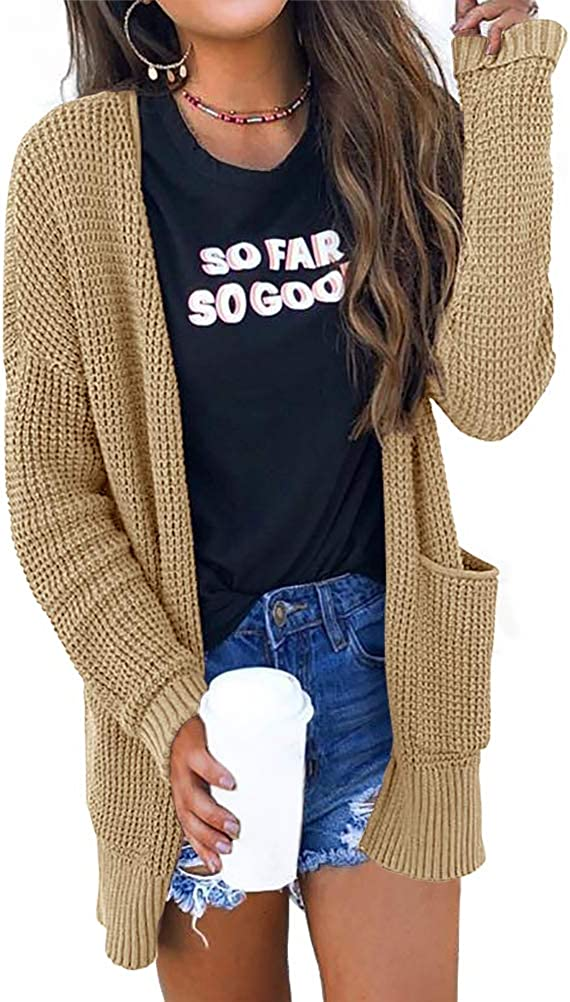 Risesun Womens Waffle Knit Open Front Cardigan Lightweight Loose Solid Sweater with Pocket