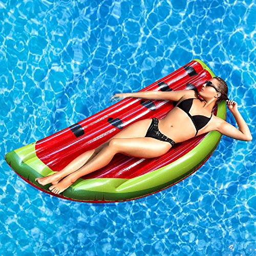Rexco Jumbo Inflatable Large Watermelon Slice Fruit Island Beach Float Lounger Swimming Pool Jumbo Air Mat Water Sports Fun Toy Raft Lilo