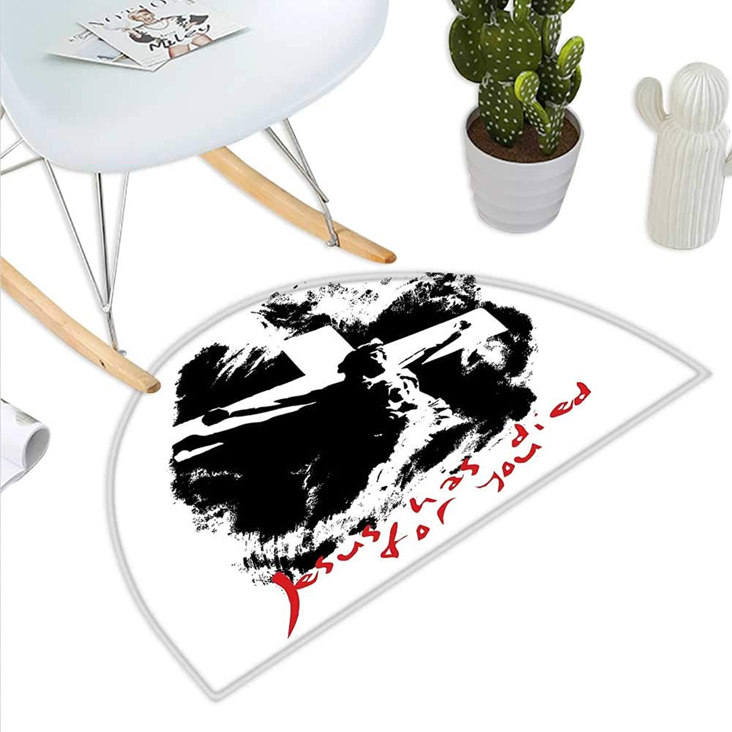 Quote Semicircle Doormat Grunge Style Image on The Cross Scenery and He Has Died for Your Sins Phrase Halfmoon doormats H 39.3  xD 59  Black White Red