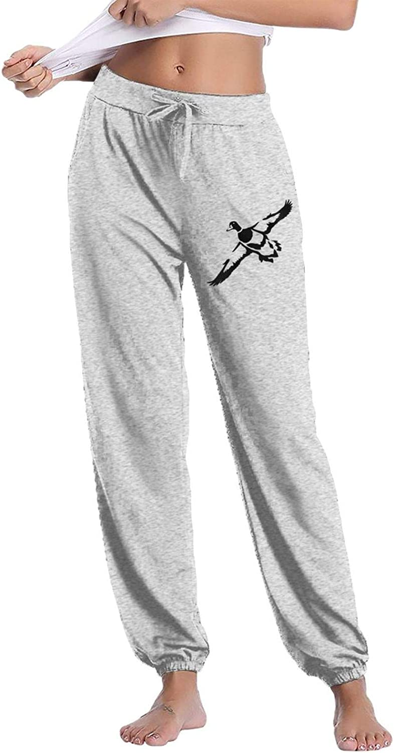 Hunting Duck Geese American Flag Womens Casual Pants Lounge Long Sweatpants Basic Drawstring Trousers