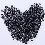 500 unidades Anillas Siliconadas Micro Anillo Cuentas para Extensiones de Cabello Natural Queratina I Tip - Micro Rings 5mm Silicone Lined Links Beads [Negro]