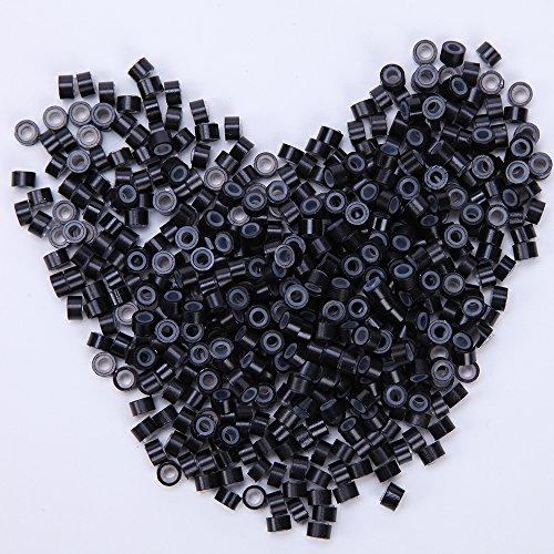 500 Stück Microrings Hair Extension Silikon Ring Beads Loops Micro für I-Tip Haarverlängerung Schwarz