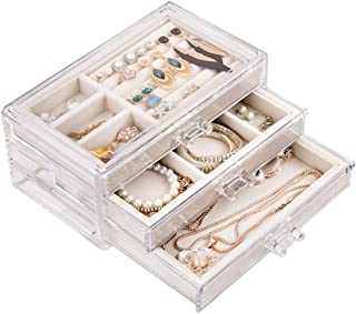 Tasybox Clear Jewelry Box Organizer 3 Drawers Velvet Jewellery Boxes Acrylic Ring Earring..