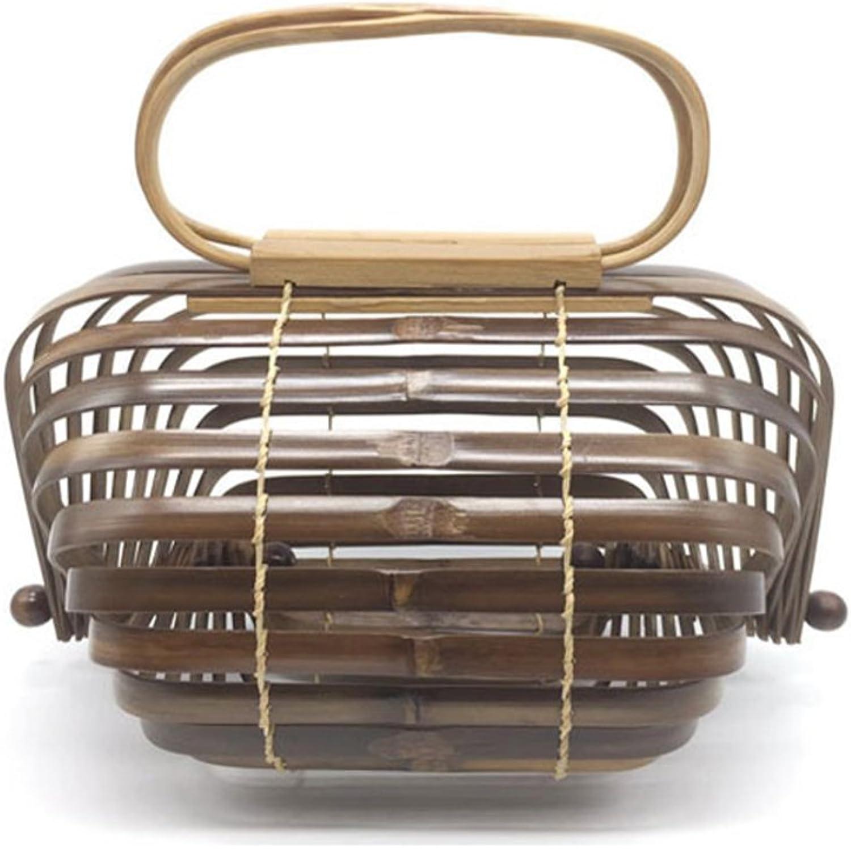 Herald Fashion Bamboo Handbag Handmade Large Tote Bag (Small, Coffee)