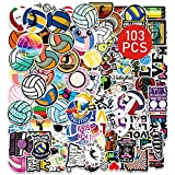 Volleyball Stickers103PCSCuteSports Ball Accessories for Teen Girls WaterproofStuffs DecalsforScrapbook Mirror Bicycle CarsSkateboard Suitcase Bumpers Gifts for Boys