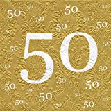 AvanCarte Servietten 50 Goldhochzeit mit Prägung 20 Stück, 3-lagig 33x33cm
